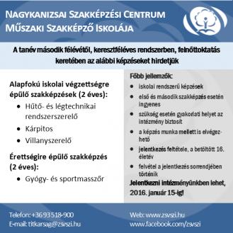 Felnőttképzési hirdetés 2015/2015 II. félév